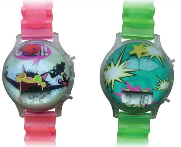 plastic colorful digital wrist watch 3D liquid Bubble Digital Watch