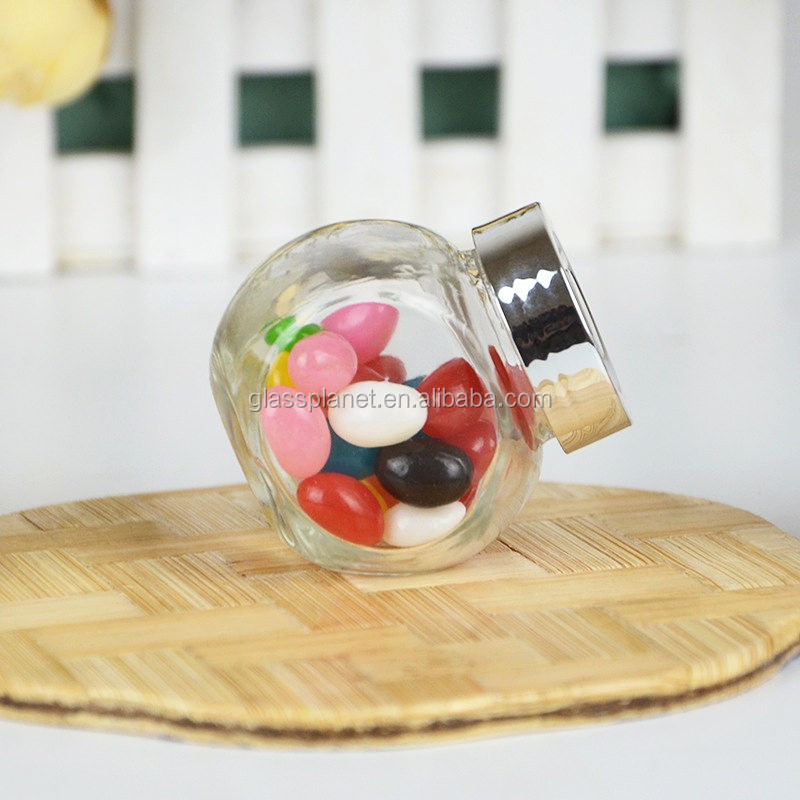 Flat Drum Glass Storage Jar Cracker Jar Canister, 50ml