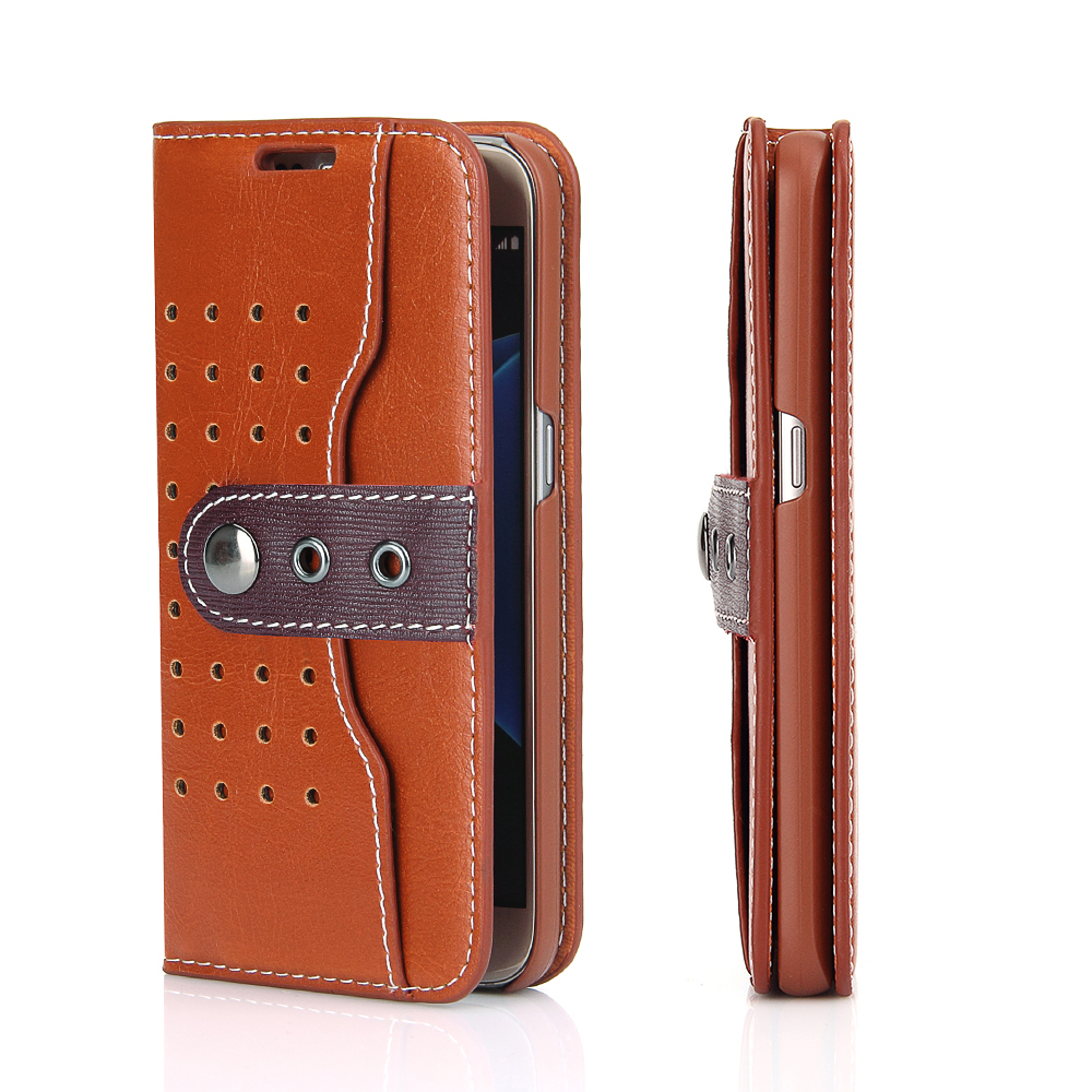 For Samsung Galaxy S7 Cell Phone Case Real Leather Wallet Credit Card Slot Mobile Phone Case