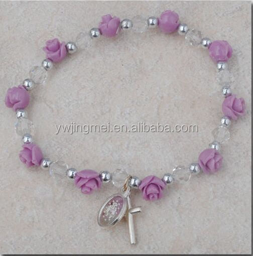 6mm crystal beads with Coral Rose beads rosary bracelet