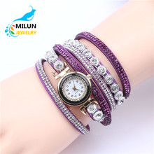 China watch factory Fashion New Dress Color Ladies Bracelet Watches Woman Casual Knit Long Leather Quartz Watch