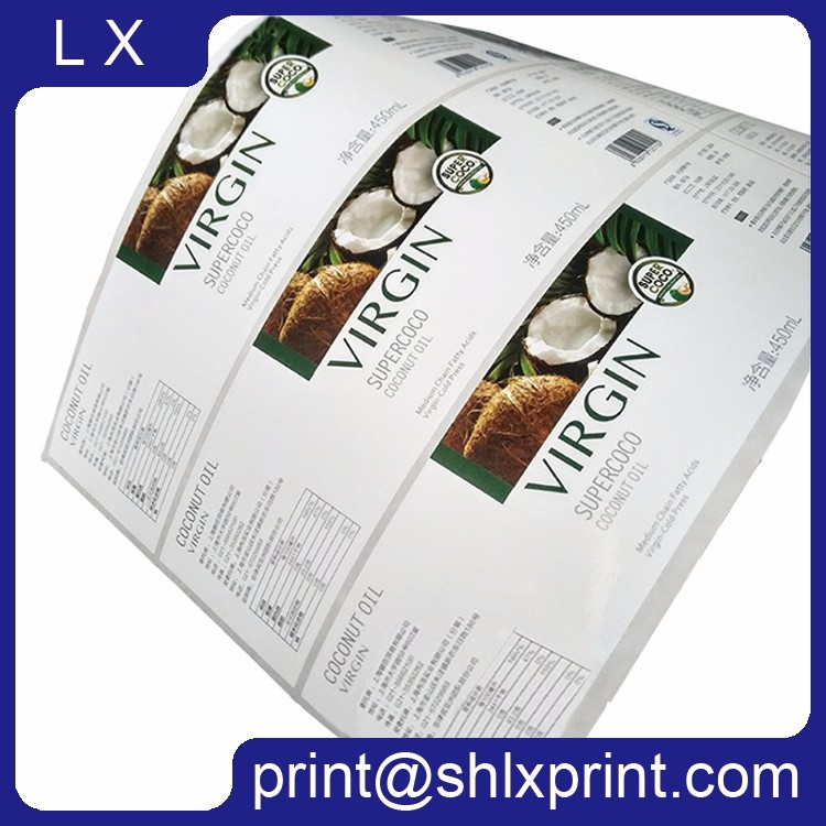 Custom Printed Self Adhesive Roll Coconut Oil Bottle Sticker Label