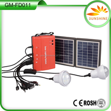 1.7W solar panel portable mobile charger mini solar home lighting kit with 2 pcs LED bulb