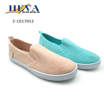 Factory price Solid color Canvas Shoe Women With Slip On