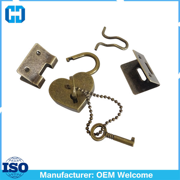 Bronze Metal Heart Diary Padlock Key Lock With Ball Chain And Clamp Set
