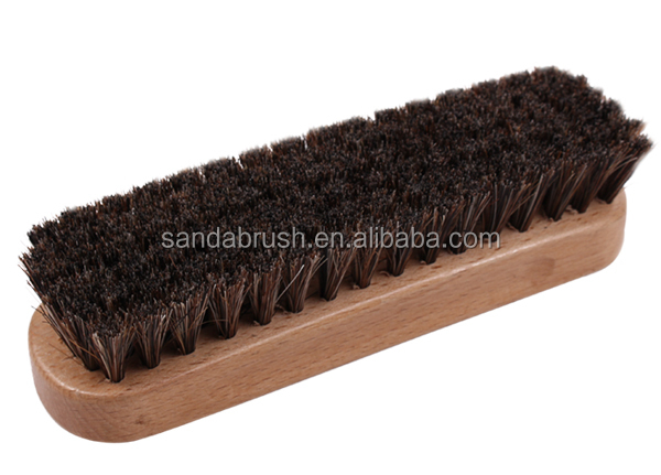 Yangzhou BSCI horse hair wooden shoe brush for leather polishing and cleaning