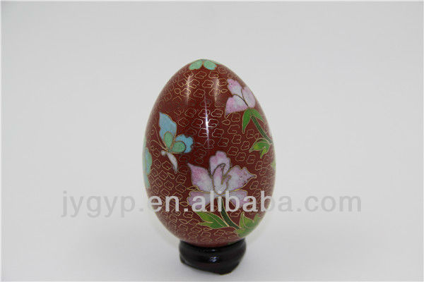 stock cloisonne red eggs decor with panda images in big size, Easter egg