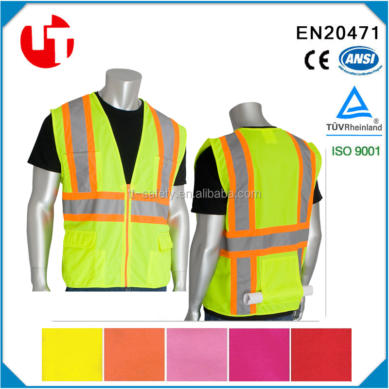 lime polyester peach shape mesh pink safety vest ansi with reflective tape with orange trim