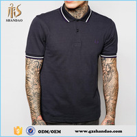 2016 guangzhou shandao summer 200g 65%cotton 35%polyester new design short sleeve men plain dyed tshirt polo