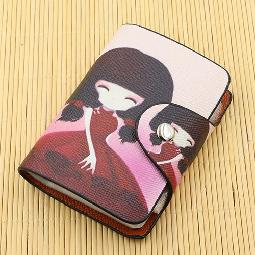 New Women Fashion Business Credit Card Holder Wallet Cute Creative Paintings Bank Card Bag 26 Slots ID Holder Bag Purse