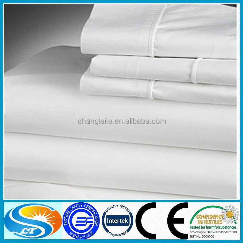 100% cotton plain bleached hotel bedding set white fabric from china suplier