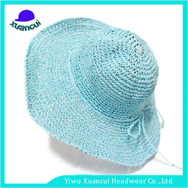 Multi Color Floppy Summer Protection Wholesale Lady Crushable Floding paper straw hats zhejiang