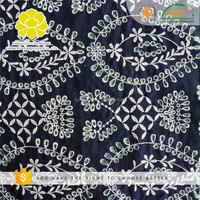 100%cotton outer garment lawn eyelet voile black embroidery african guipure lace fabric
