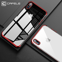 CAFELE Clear Logo Soft Luxury TPU phone cover for iPhone 8 cases thin transparent plating phone case for iPhone X silicone cover