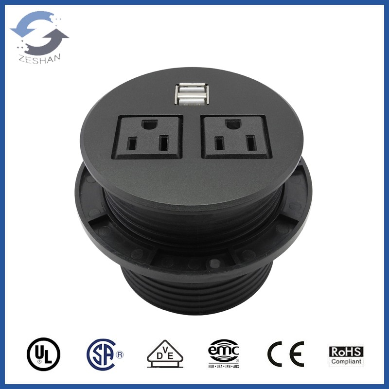 ZS06 US power and dual network and HDMI Damped Desk top Socket