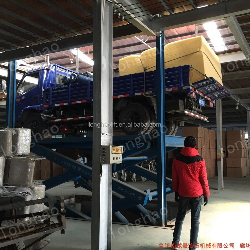 Longhao electric scissor car lift for bridge used for lifting goods