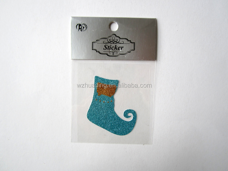 Blue mini sweet christmas stocking kids decor golden onion powder stickers