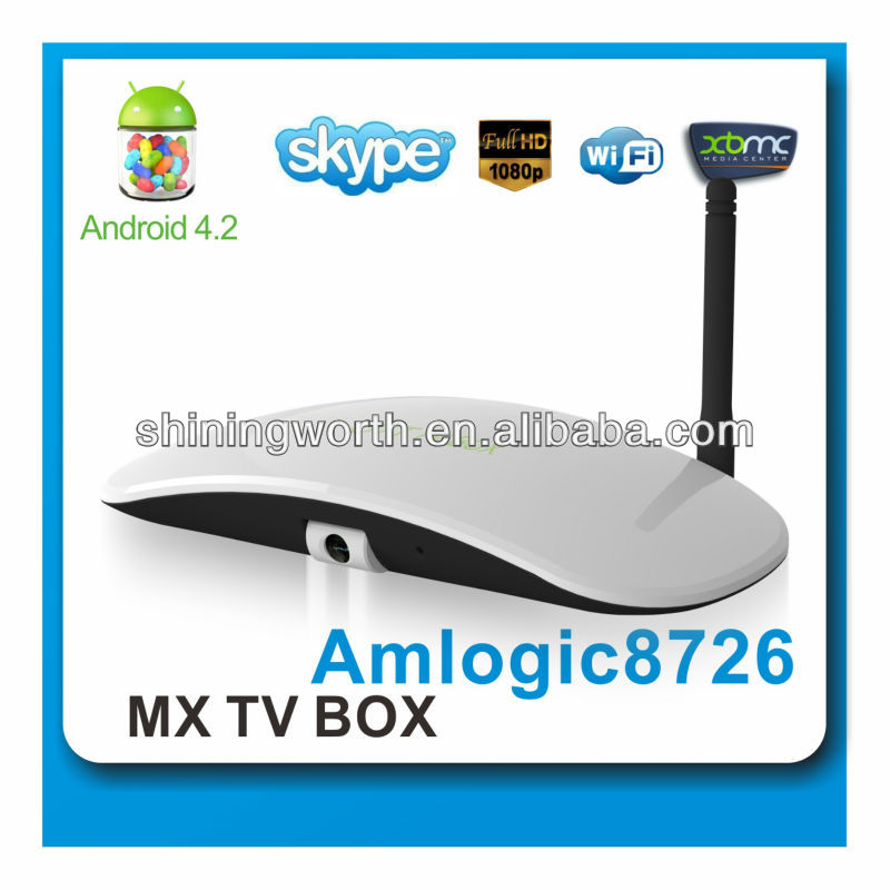 Hot Google 1080p HDMI Android 4.2 Dual Core TV Box Support Driverless Camera Skype OTT BOX