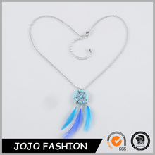 Wholesale multi color handmade dream catcher feather necklace