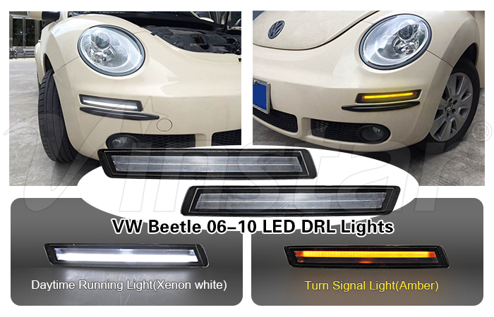 Factory multifucntion design LED Turn Signal light together with xenon white LED DRL for beetle