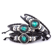 Fashion 12 Constellations Mens Leather Bracelet Wholesale