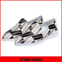 Good wholesale price flat style exquisite printing italian leather shoes women casual 2016 ladies