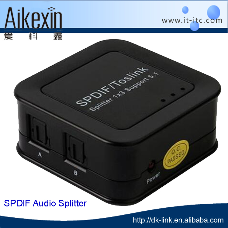 New SPDIF TOSLINK Digital Optical Audio Splitter Amplifier 1X3 support 40m