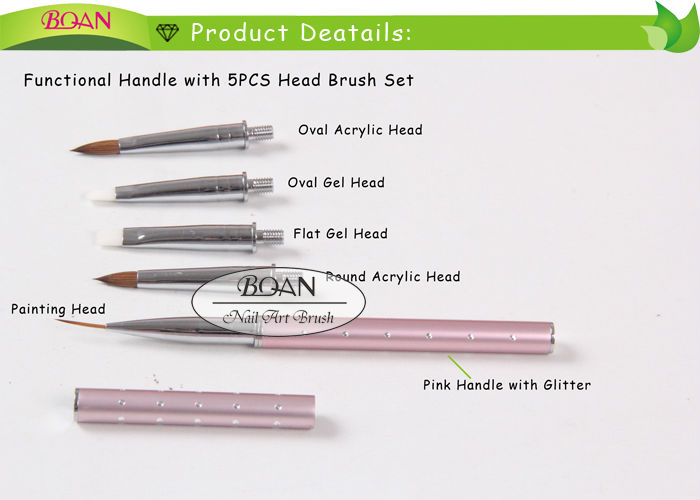 BQAN One Pink Glitter Metal Multifucntion Handle With 5PCS Switch Head Nail Brush Set