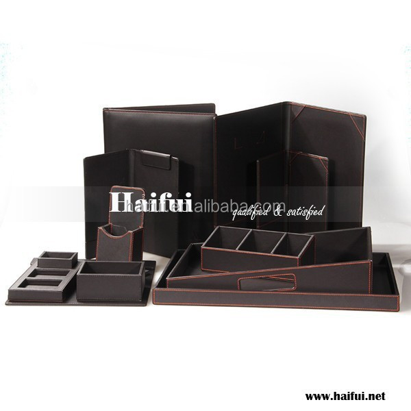 Fashion leather products for 5 stars hotel, hotel leather stationery