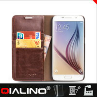 QIALINO Hot sale Real leather Flip cover case for samsung galaxy S6