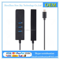 USB 3.1 Type-C to 3 Ports USB 3.0 Hub with 1000Mbps Ethernet Network LAN Adapter