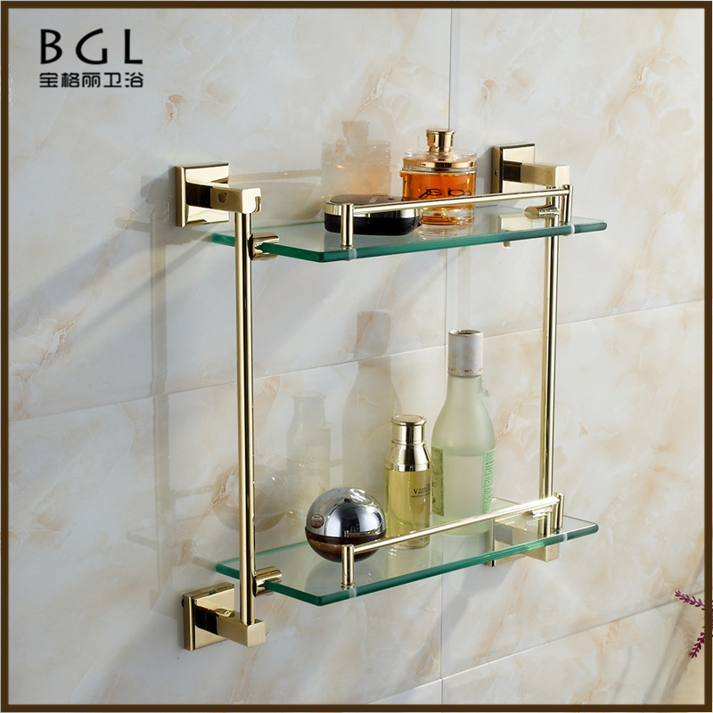 80202 bathroom accessories set zinc alloy gold plated dual tier bathroom glass shelf