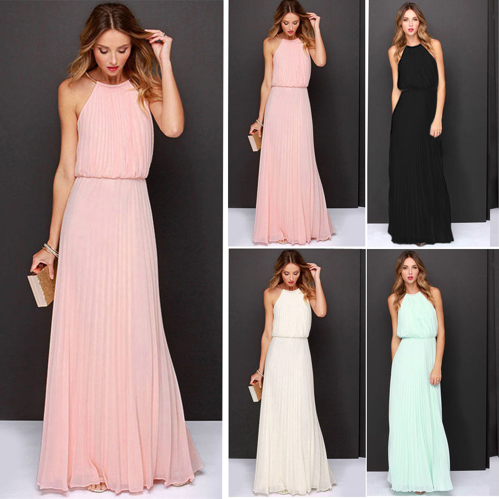 Sexy Women Boho Party Summer Chiffon Bandage Beach Dresses Sleeveless Maxi Long Girls Cocktail Evening Dress 2016