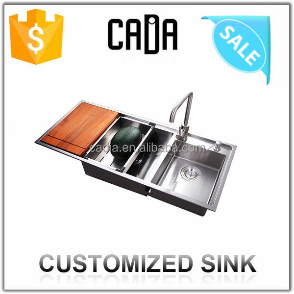 cadia double bowl deep basin sink with drain board CA-BR10547P
