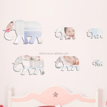 children room safety acrylic wall mirror with self adhesive back elephant shape