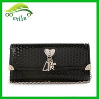 Brand name ladies purse women elegance punch purse ladies hand purse with pendant