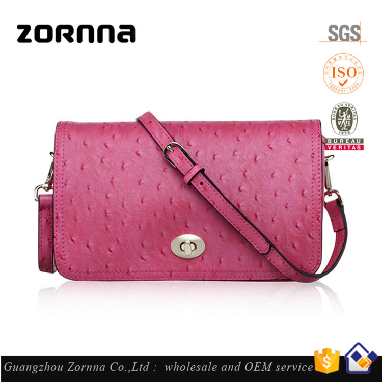 New Style Fashion Ladies No Name Novelty Shaped Online Shopping Pink Real Purses Ostrich Leather Handbag