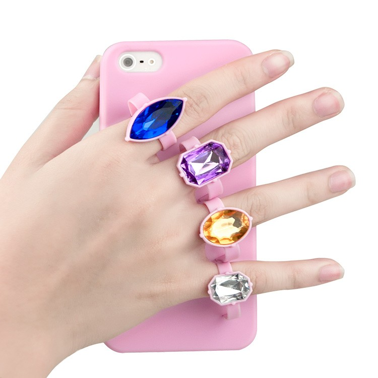 Factory Wholesale Anti Broken Diamonds Rings Soft TPU Cell Phone Case For iPhone 5 5s SE
