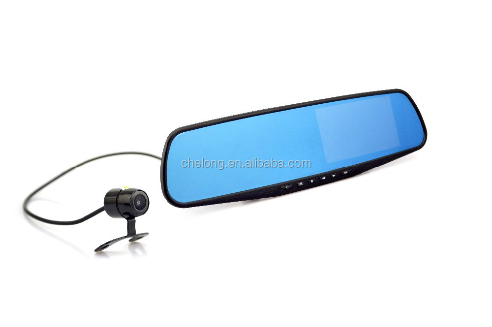 1080P Dual Lens Car DVR Rearview Mirror 4.3 inch vehicle traveling data car black box recorder
