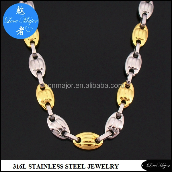 New Stainless Steel 10mm Coffee Bean Link Chain Necklace Boy Men's Handsome