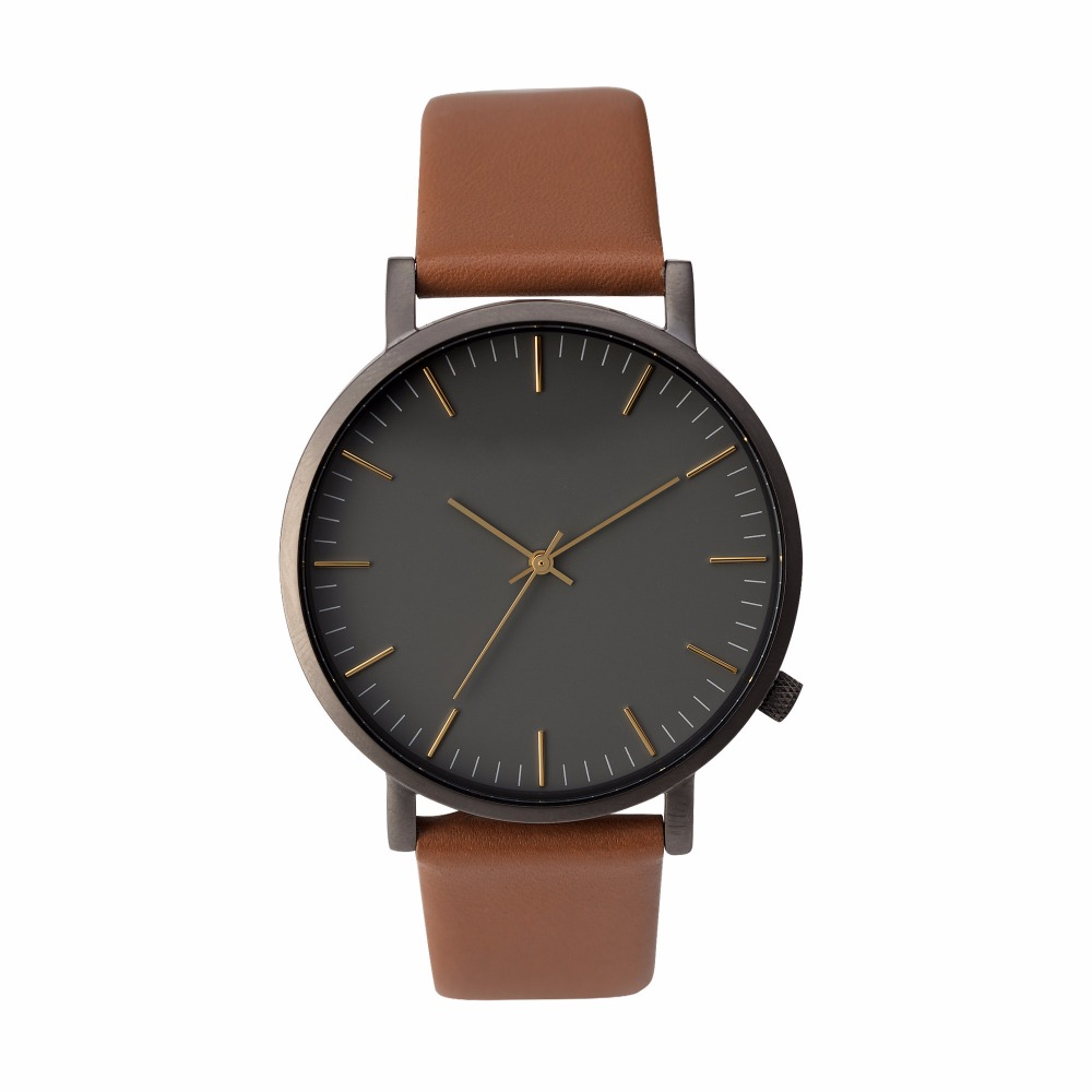Brand name watches Big face Case watch and thin Tan Genuine Leather Strap men's wrist watch