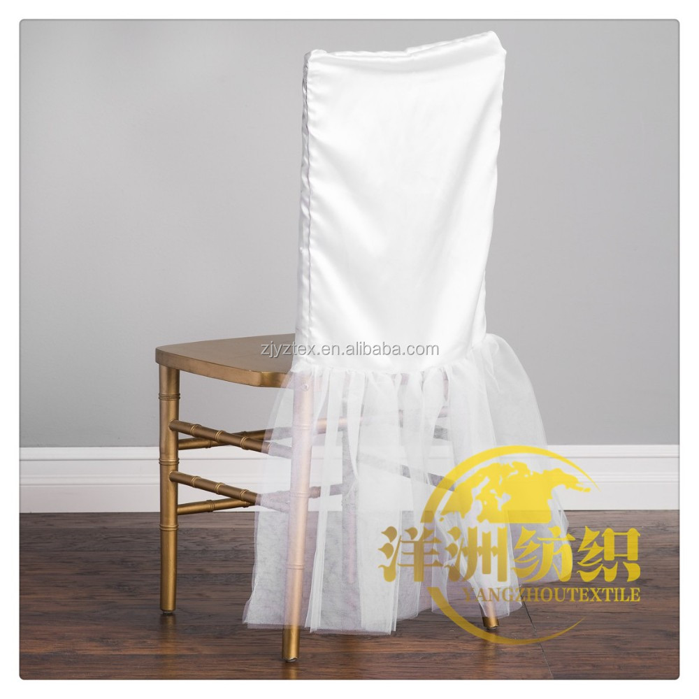 white satin ruffled desgin chair caps chiavari chair cover