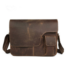 21 Inch Computer Custom High Grade Crazy Hors Leather Men Laptop Messenger Bag