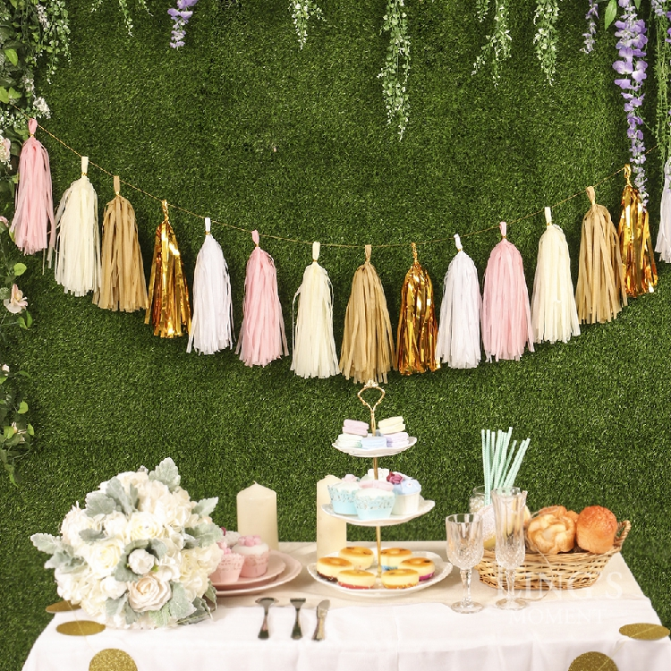 Garden Party Decoration Gold Foil Tissue Paper Tassel DIY