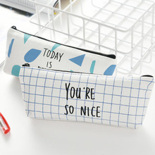 YIwu Fashionable Canvas Pen Pencil Case Stationery Pouch Bag Case Cosmetic Bags