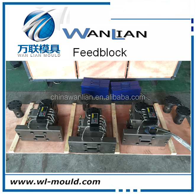 WL block mould for coextrusion distributor coextrusion feedblock for multi-layer composite plastic sheet \film die