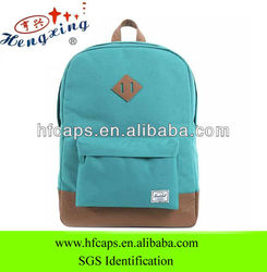 European style cotton fabric custom plain school bags and backpacks