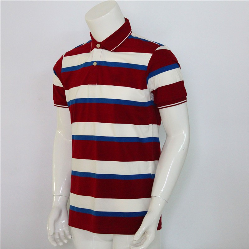 deep red color polo shirt for man stripes cotton tshirt custom fashion clothes