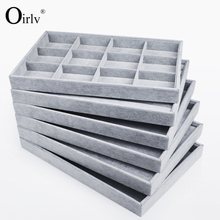 Wholesale Stackable Jewellery Display Tray Necklace Bracelet Ring Storage Holder Stackable Velvet Jewelry Trays With Pad