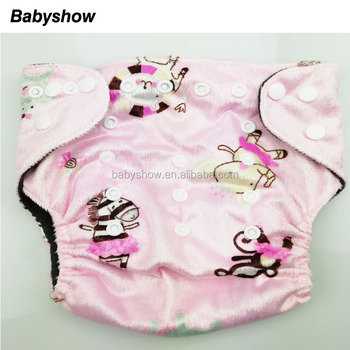 Double Row snaps Minky Printing Bamboo Charcoal Inner Material Pocket Cloth Diaper